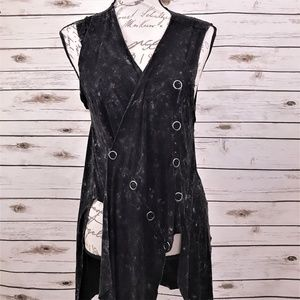 Punk Black Acid Washed Vest Top